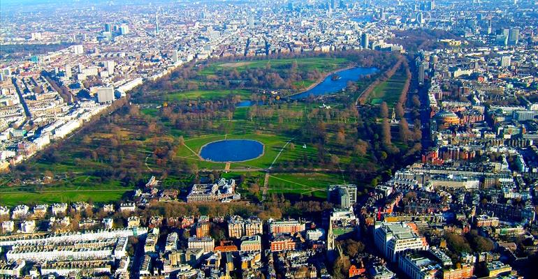 Hyde Park desde las alturas. Crédito: traveldigg.com